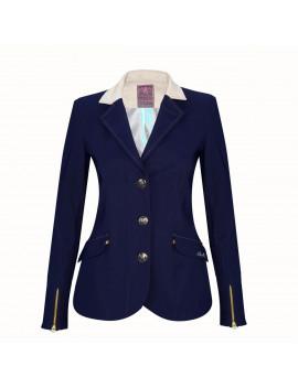 Veste femme Meredith bleue marine col beige standard ou sur-mesure