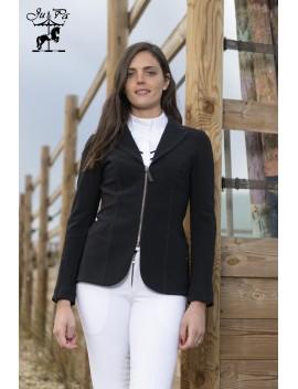 Veste Alix noire col noire standard ou sur-mesure