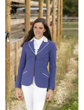 Veste femme Alix bleue pétrole col beige standard ou sur-mesure