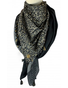 Foulard noir et doré